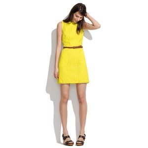 Madewell yellow eyelet trail shift dress
